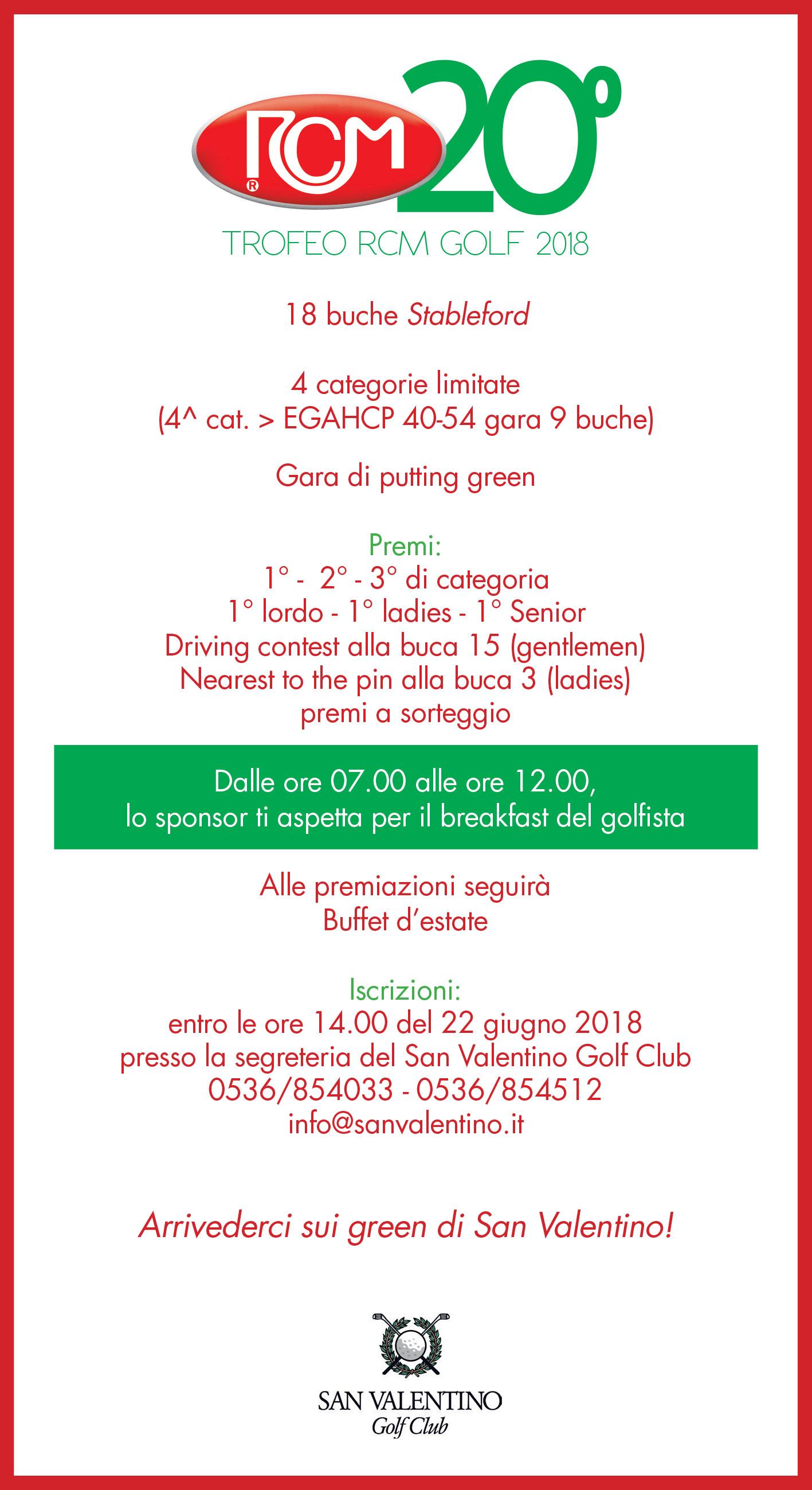 Programma Trofeo di Golf RCM 2018